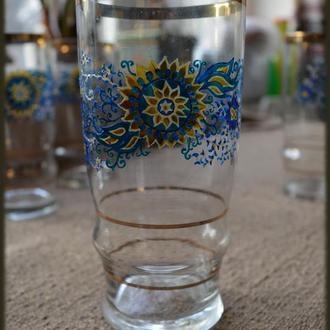 Набор из четырех стаканов в этно-стиле