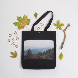 Черная сумка-шоппер с карманом, эко сумка с принтом фото горы Карпаты, сумка для покупок