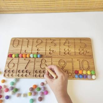 Розвиваюча іграшка для вивчення цифр і рахунку дошка з цифрами подарунок на день народження дити