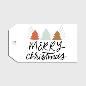 """Бирка-тег """"Merry Christmas"""" (with three)"""