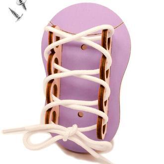 Заготовка для Бизиборда Лиловый Ботинок + Шнурок Деревянная Шнуровка Кеды Черевик шнурівка