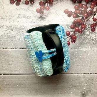 Вязаный чехол на чашку, теплушка на кружку, свитер на кружку, для чашки, сувенир, подарок