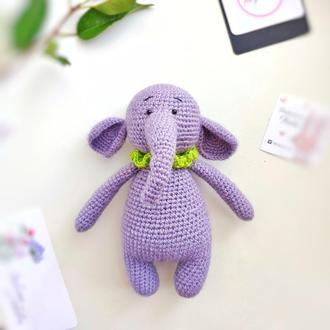 """Игрушка детская """"Сиреневый слон"""" из шерсти ручной работы"""