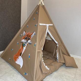 Вигвам для детей, детская палатка, игровой вигвам, нарисованный вигвам, вигвам ручной работы