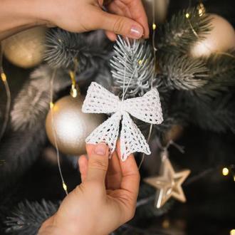 Новогодние украшения, Игрушки на елку, Банты на ёлку, Елочное украшение
