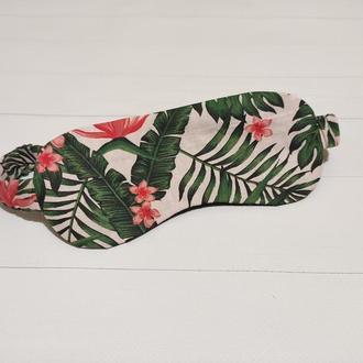 Женская маска для сна/повязка на глаза на резинке с экзотическим принтом ручной работы