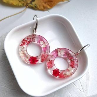 Серебряные серьги с натуральными цветами в ювелирной смоле
