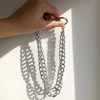 Крупная серебряная цепь, большая цепочка чокер, серебряная цепь на шею, массивная цепочка