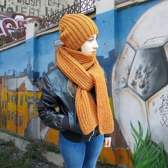 Шарф вязаный длинный, Рыжий, толстый шарф