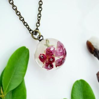 Кулон с цветами вереска Подвеска  Подарок жене маме сестре девушке (модель № 2645) Glassy Flowers