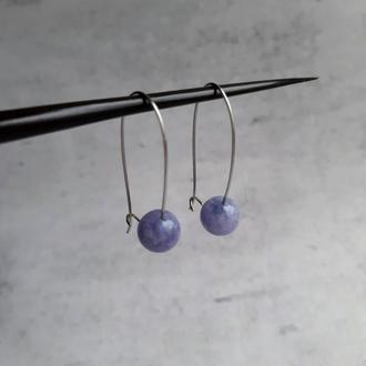 Женские серьги с кварцем нежно-голубого цвета. Подарок. Серьги с натуральными камнями.