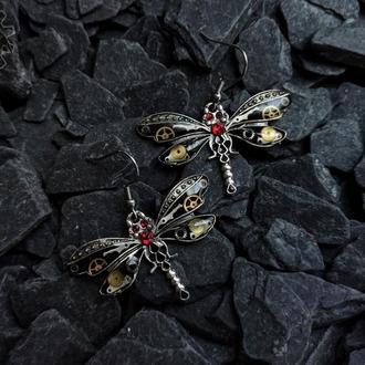 Серьги стрекозы в стиле steampunk стимпанк (под заказ, есть похожая пара)