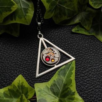 Дари смерті в кольорах Грифіндор - кулон з всесвіту Гаррі Поттера в стилі стімпанк (1 шт.)