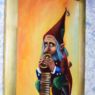 Золотой гном, живопись, размер 30х50см