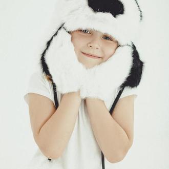 """Меховая шапка детская """"Панда"""""""