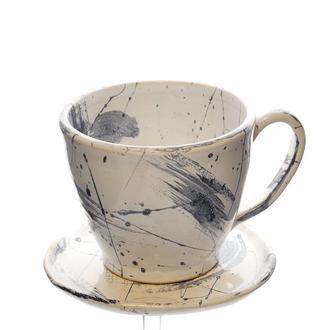 Чайная пара  Большая чашка с блюдцем 300мл Ручная работа