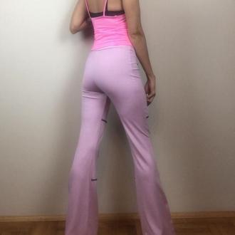 рожеві трикотажні штани жіночі кльош для фітнесу, йоги, тренувань, трайбл бохо штани
