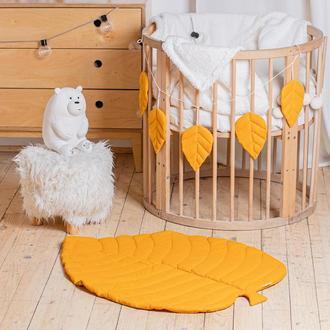Коврик - листик для детской комнаты в горчичном цвете Mustard