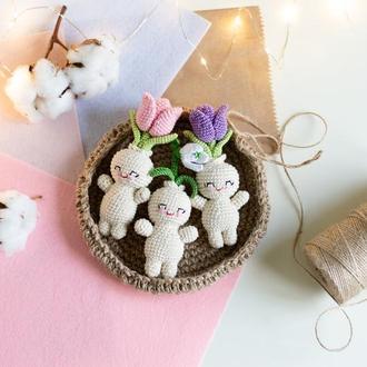Набор из трех первоцветов, вязаные игрушки человечки цветы :тюльпаны и подснежник