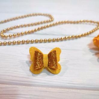 Бантик Бабочка для собаки желтый с золотом для выставок и дома Pets Couturier SIMBA