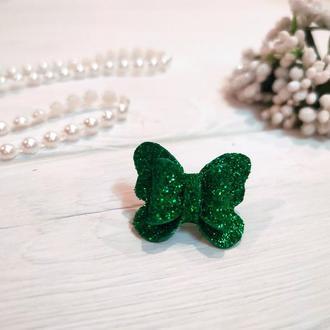 Бантик Бабочка для собаки блестящий зелёный для выставок и дома Pets Couturier SIMBA