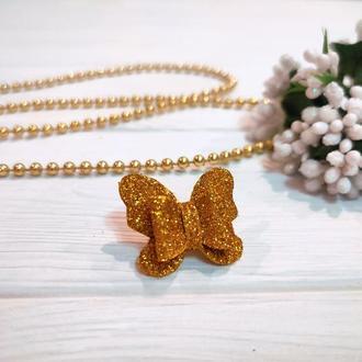 Бантик Бабочка для собаки блестящий золотой для выставок и дома Pets Couturier SIMBA