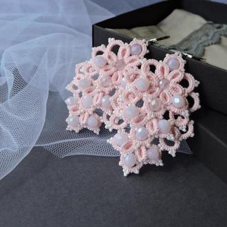 Кружевные серьги фриволите ′Rose′ , длинные розовые серьги , свадебные серьги