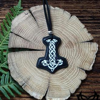 Кулон подвеска кожа кельтский узел крест хенд мейд украшение молот Тор