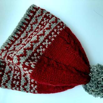 Новогодняя шапка бини с помпоном