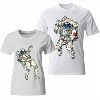 """ФП005865Парные футболки с принтом """"Танцы космонавтов"""" Push IT"""