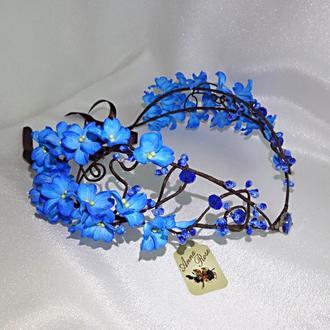 """Диадема с голубыми цветами  для волос """"Лесная Фея"""""""