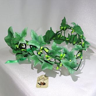 """Диадема с листьями зеленого плюща ручной работы для волос """"Лесная Фея"""""""