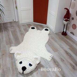 Мягкий меховой коврик для детей Белый медведь. Коврик северный Мишка для детской комнаты