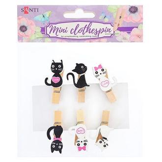 Набор прищепок деревянных декоративных Santi Lovely kitties, 3,5 см, 6 шт
