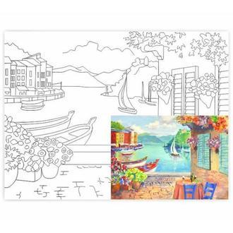 Холст на картоне 30х40 см с контуром Кафе в Portofino