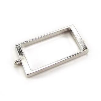 Рамка-основа для кулона Прямоугольник 40х21мм, серебро