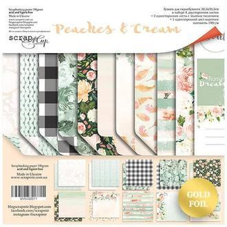 Бумага для скрапбукинга 30х30 см Peaches & Cream с золотой фольгой, 11 листов