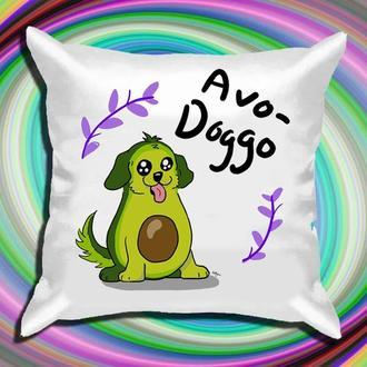 "П005858Подушка с принтом  ""Avo-Doggo"""