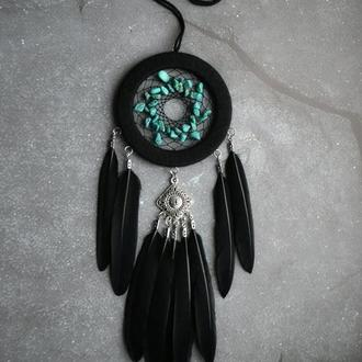 Ловец снов с бирюзой, декор и оберег, оригинальный подарок близким и друзьям