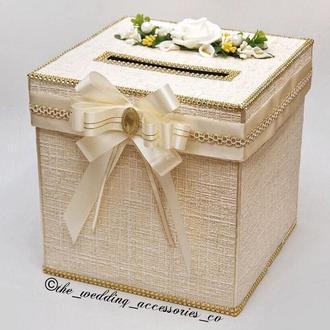 Свадебная казна для денег с цветочной апликацией и бантом