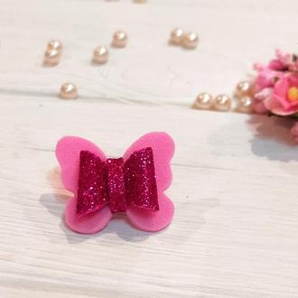 Бантик Бабочка для собаки розово-малиновый блестящий для выставок и дома Pets Couturier SIMB
