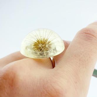Кольцо с одуванчиком. Прозрачный перстень. Украшения с цветами (модель № 2664) Glassy Flowers