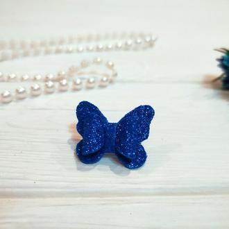 Бантик Бабочка для собаки синий блестящий для выставок и дома Pets Couturier SIMBA
