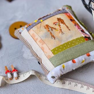 Текстильная подушка для иголок Именная