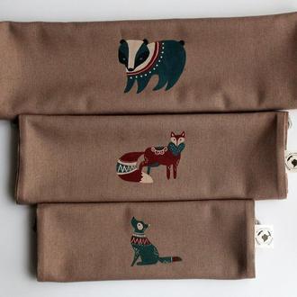 Льняные серые мешочки для продуктов. 100% натуральный лен с росписью ручной работы