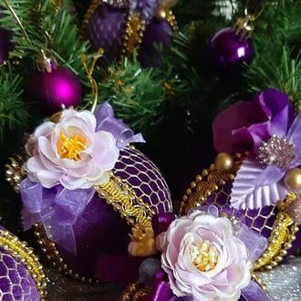 Набір фіолетових новорічних куль