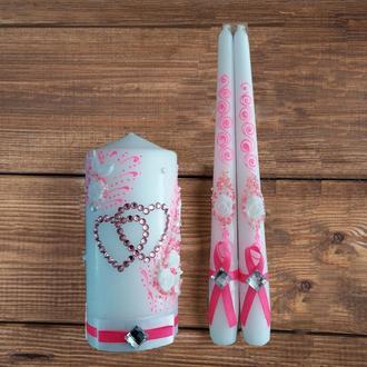 Свадебные свечи ярко-розовые (арт. WC-003-1)