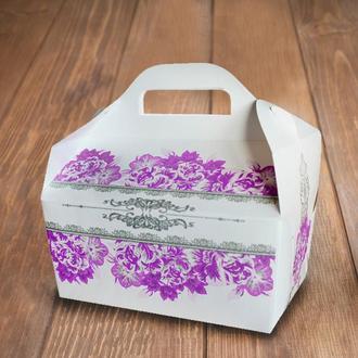 Коробочка для торта з фіолетовими квітами (арт. KS-33)