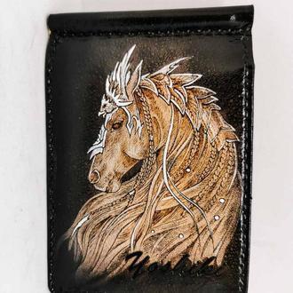 Кожаный зажим для купюр лошадь, кожаный зажим для денег с лошадью