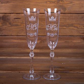 Свадебные элитные бокалы с гравировкой и стразами Swarovski (арт. WG-109)